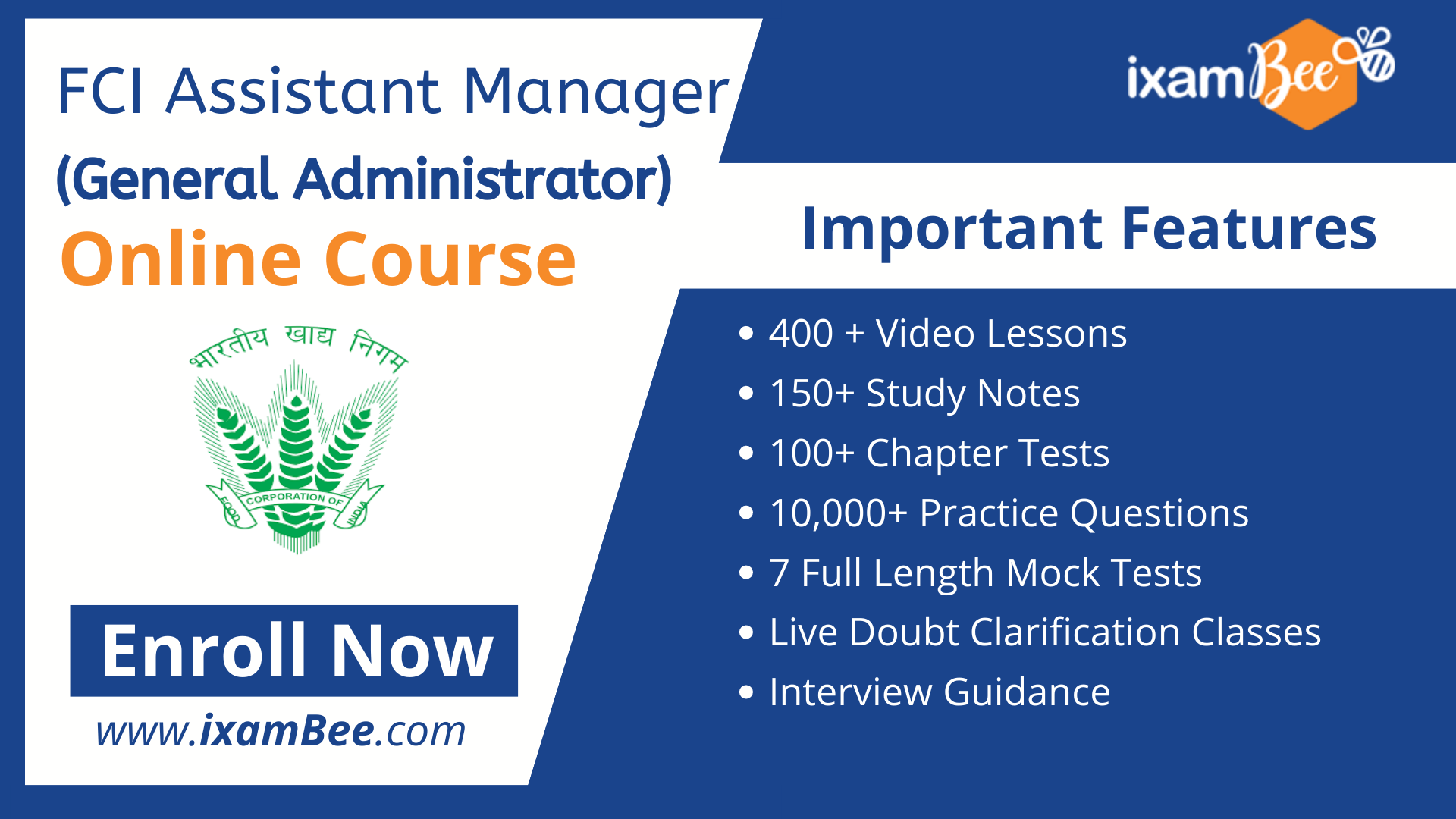 FCI Assistant General Manager (General Administration) Online Course