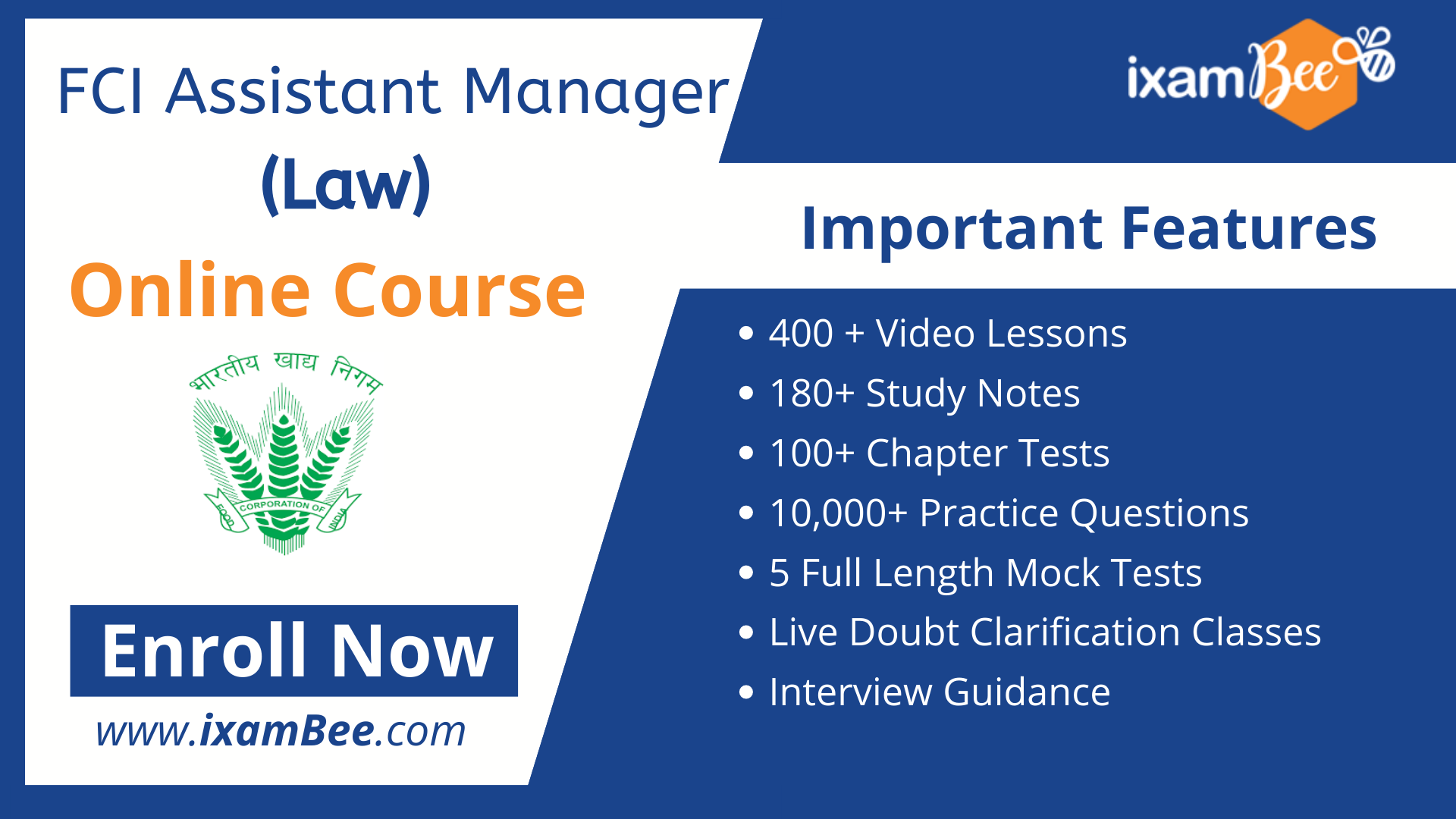 FCI Assistant General Manager (Law) online course