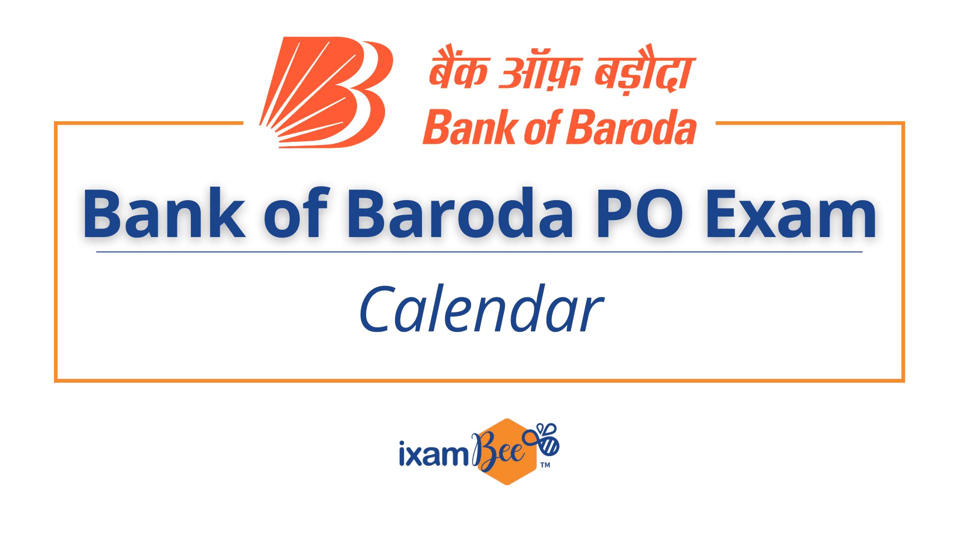 Bank of Baroda PO Exam Calendar
