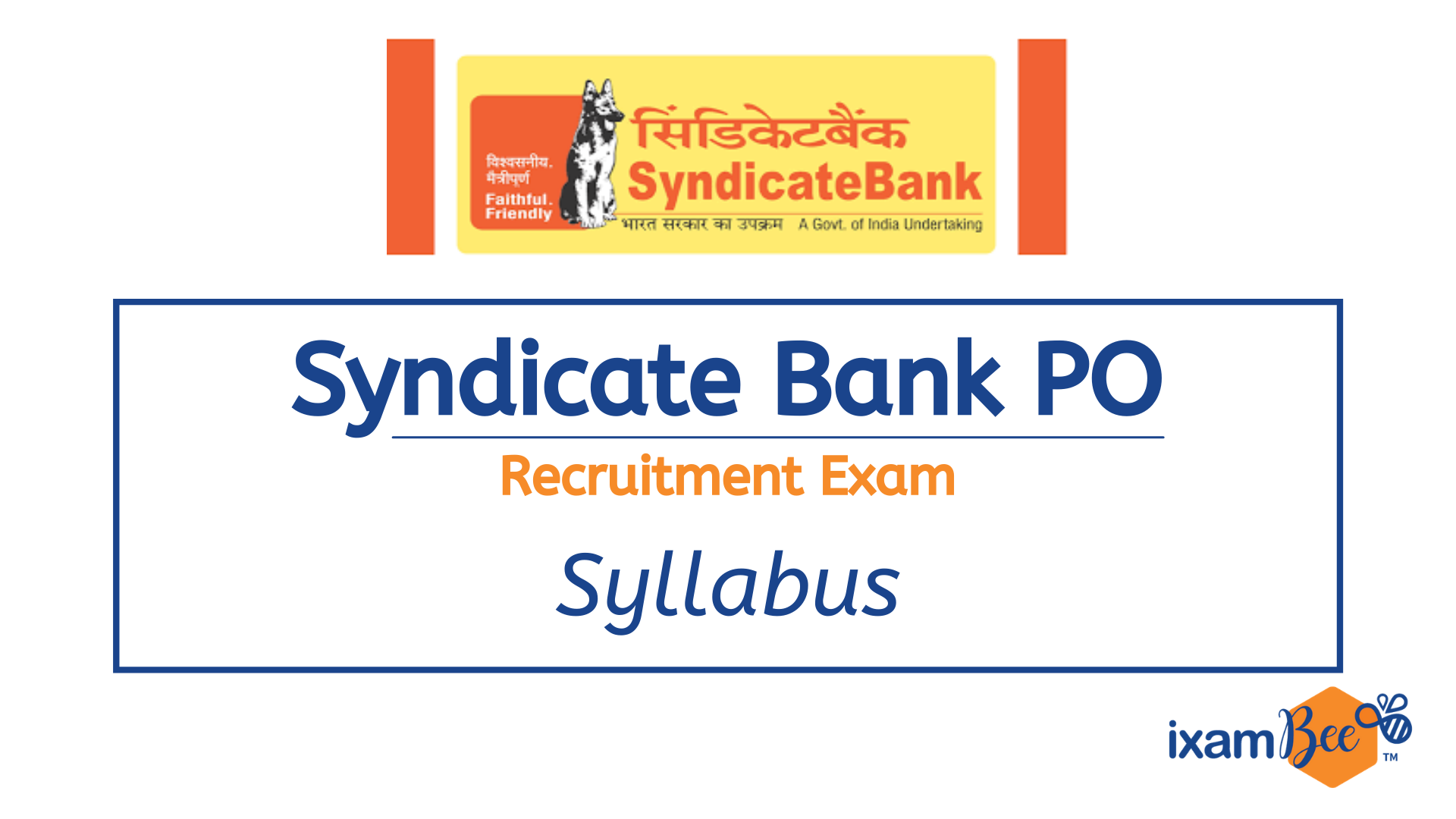 Syndicate Bank PO Recruitment Exam Syllabus